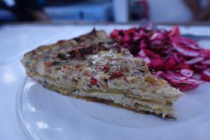 Mid-Pacific passage meal, potato crusted quiche