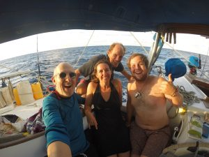 Our Pacific crossing crew: (Left to right) Michael, Sabrina, Kristian and Spencer