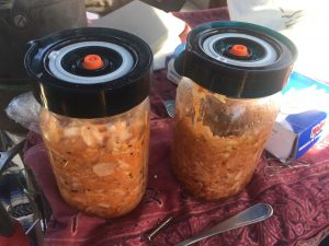 We made kimchi in these vacuum sealable fermenting jars.